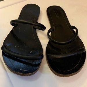 J Crew black slip sandal size 7